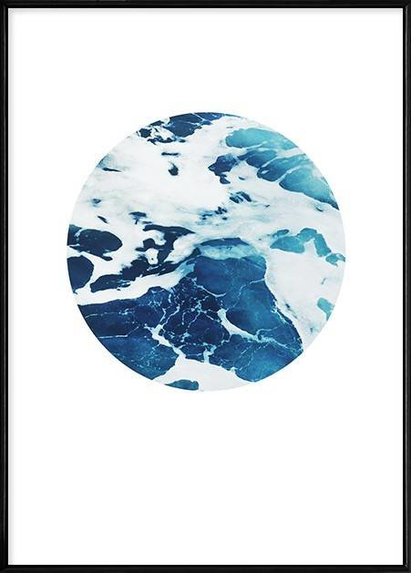Boluo Framed Nordic Canvas Print Ready To Hang - My Private Ocean (Circled Sea)(426x600mm) by Boluo