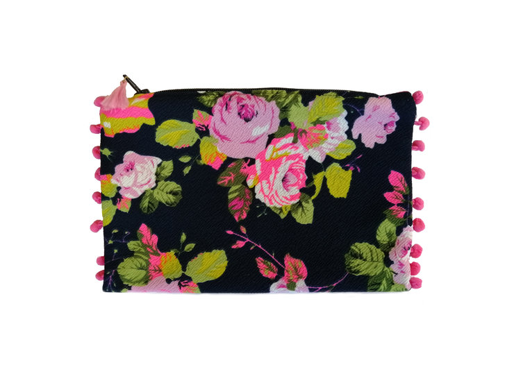 Ink & Pink Floral Print Travel Purse by cover me pretty