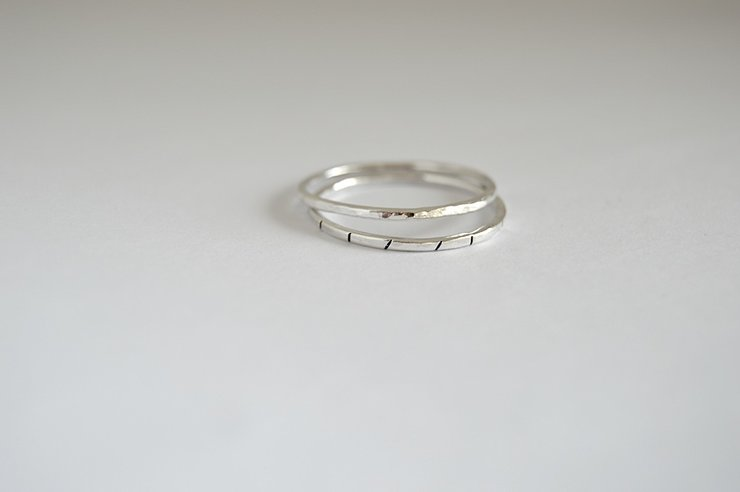 Sterling Silver Dainty Stacking Ring Set 1 by Liwo Design