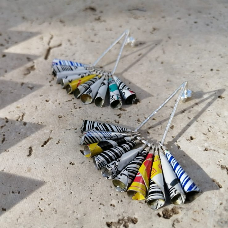 White, Black, Red, Yellow, Blue - Hammered Sterling Silver & Soda Can / ACIDULANT earrings by Morgane & The Queen