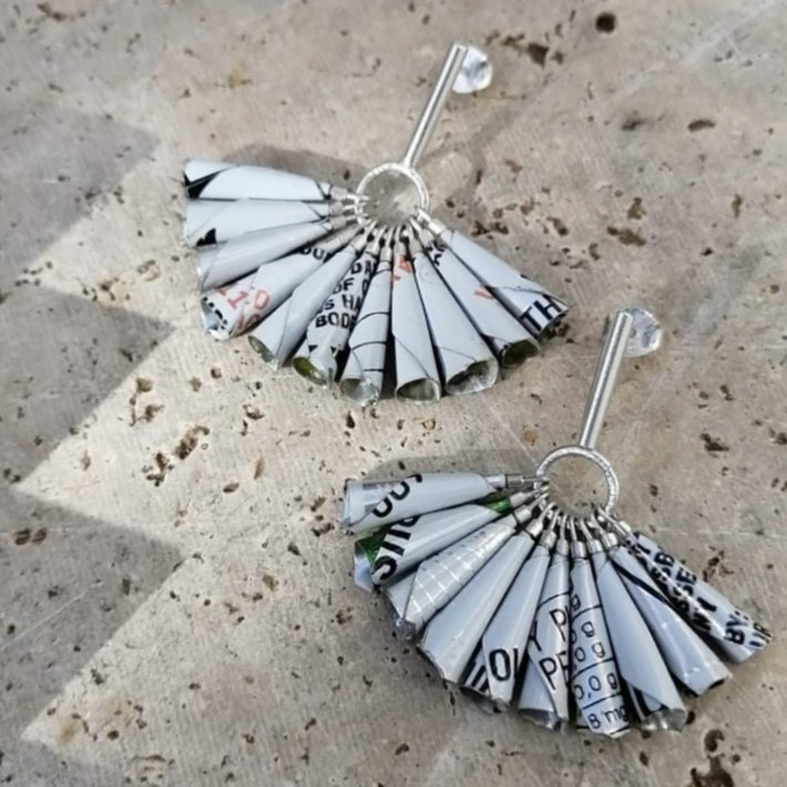Black, White - Hammered Sterling Silver & Soda Can / FIZZY TASTE earrings by Morgane & The Queen