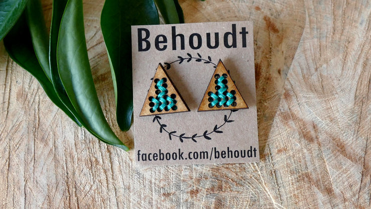 Cross stitched wooden earrings (Seafoam green) by Sew & Such