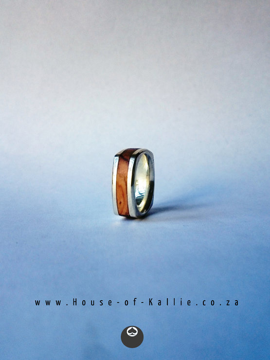 Squared Olive Wood & Sterling Silver Band by House of Kallie