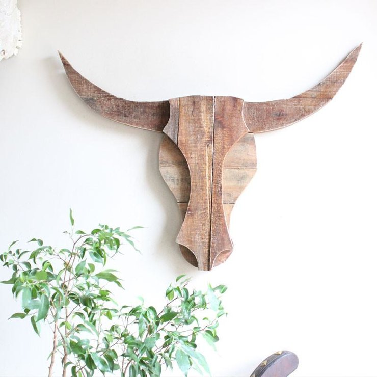 Reclaimed wooden bull head - Natural Medium by Oh my woodness