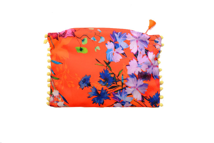 Orange Floral Print Travel Purse by cover me pretty