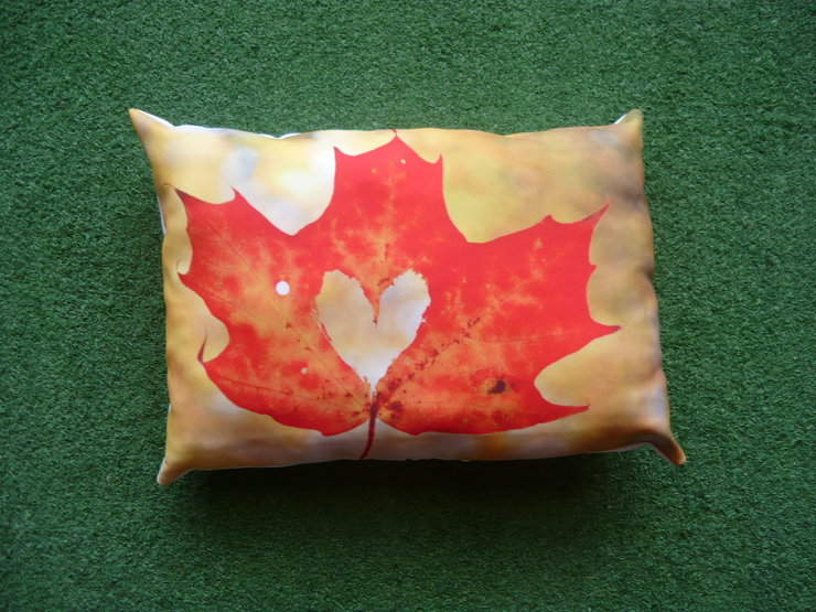 Red Leaf A3 Pillow by But Why Not