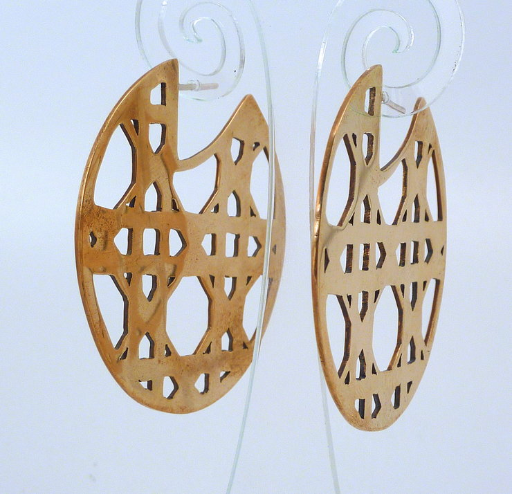 Cane weave large disc earring by The Envy by Sobeit Studio