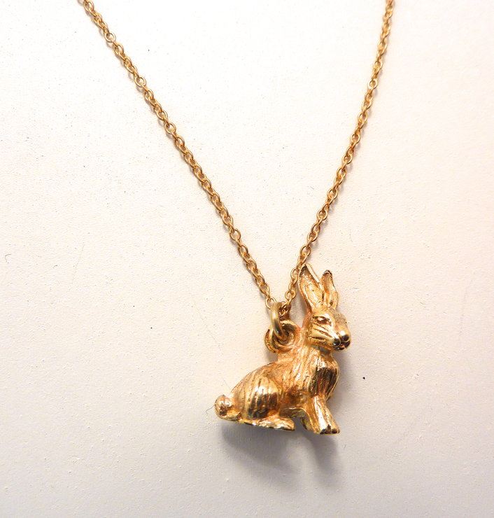 Gold Rabbit pendant necklace by The Envy by Sobeit Studio