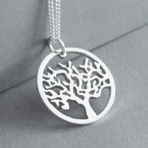 Tree in circle Pendant on Chain by Starbright Jewellery