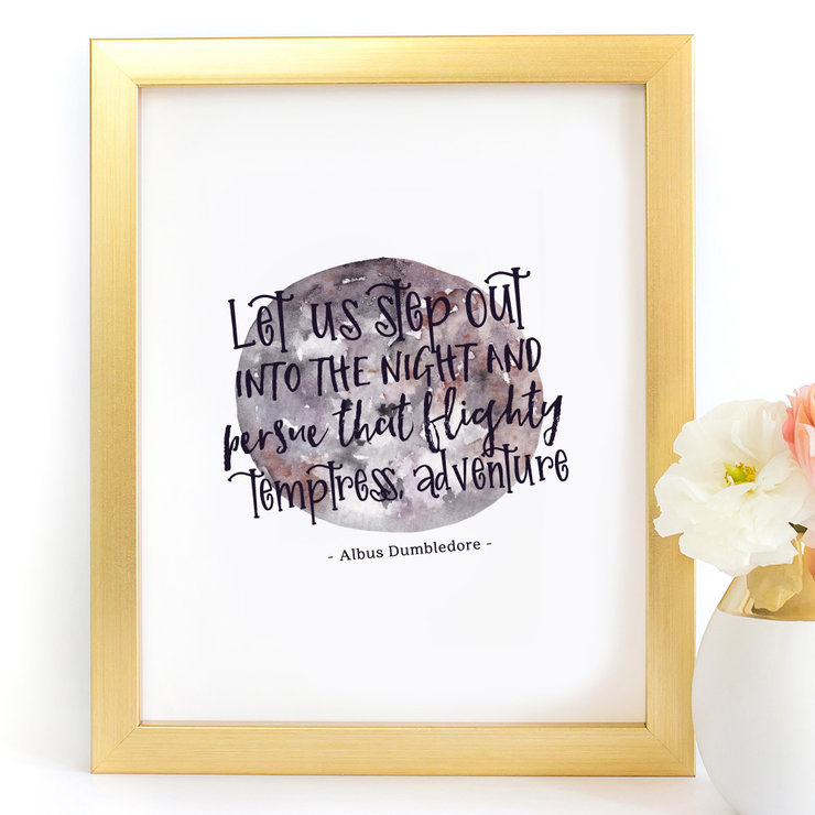 Let Us Step Out Into The Night Harry Potter Dumbledore Digital Printable Art Print by Paper Ponies Boutique