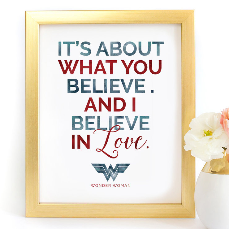 It's about what you believe Wonder Woman Digital Printable Art Print by Paper Ponies Boutique