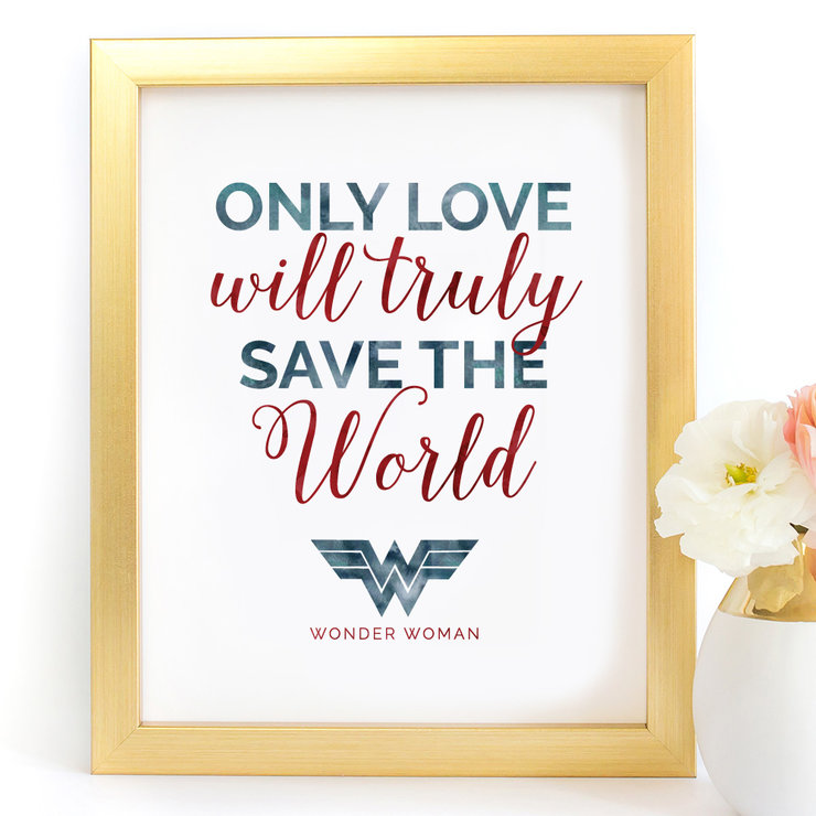 Only Love will truly save the world Wonder Woman Digital Printable Art Print Red by Paper Ponies Boutique