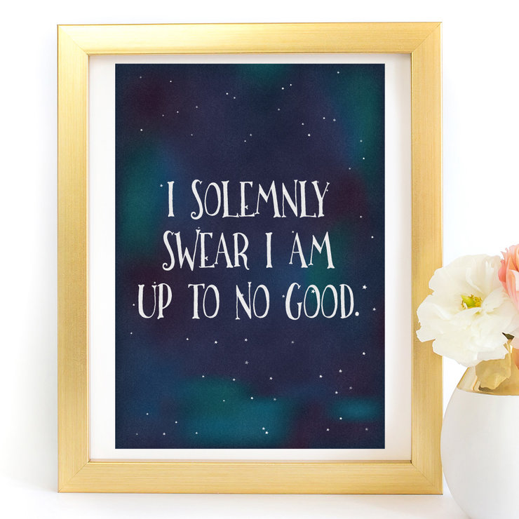 I Solemnly Swear I am Up to no good Harry Potter Digital Art Print  by Paper Ponies Boutique