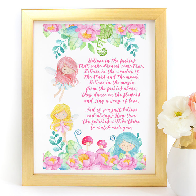 Believe in fairies watercolour digital art print by Paper Ponies Boutique