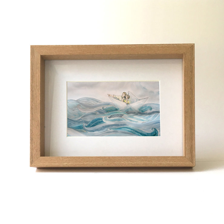 Sailing with dad (unframed A4 print) by Josephine Draws