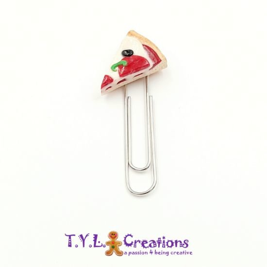 Polymer Clay Paperclip - Pizza Slice #2 by T.Y.L. Creations