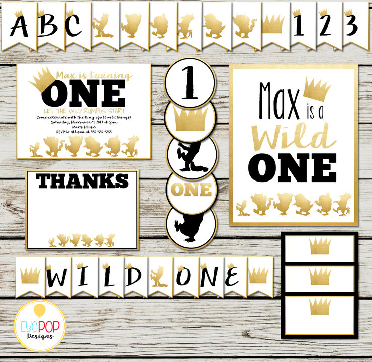 Where The Wild Things Are Party Supplies, Wild One, Gold, Black, White, Party Package, Party Decorations, Printables, Invitation + More! by EyePop Designs