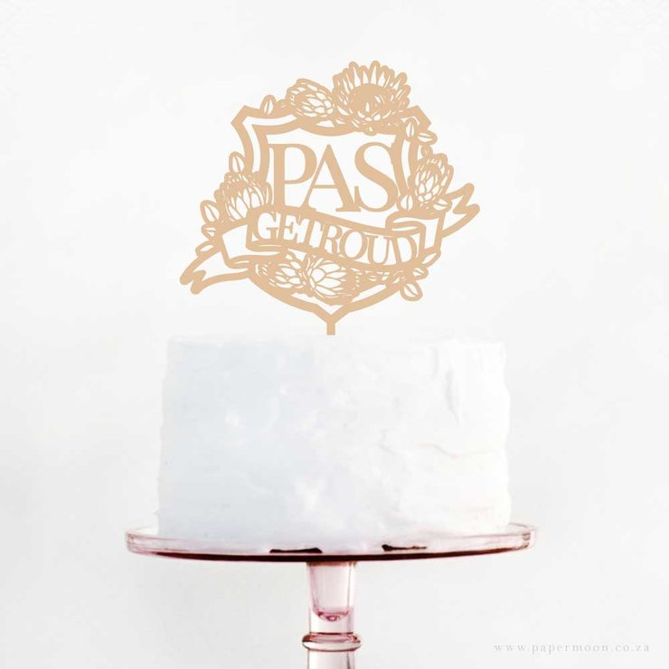 Pas Getroud Protea Shield Cake Topper Afrikaans by Papermoon