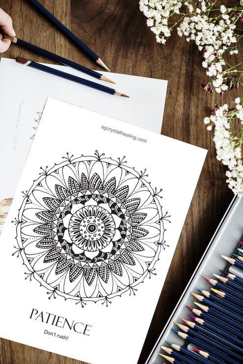 """Patience"" Mandala Adult Colouring Page by MandalaliciousZA"