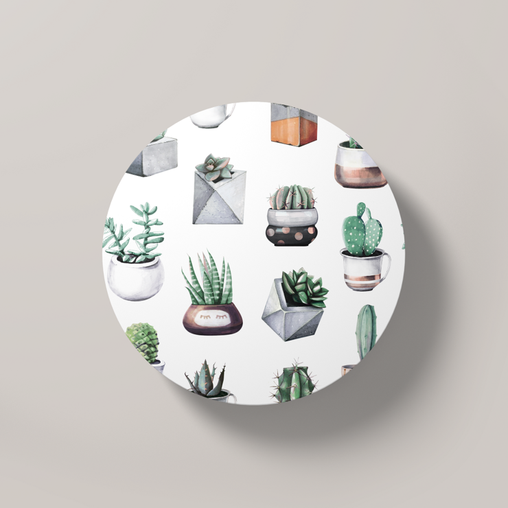 Cacti Party Pattern 10 | Round Coaster by But Why Not