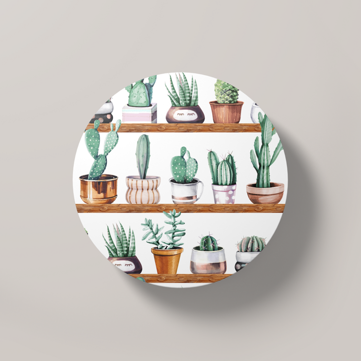 Cacti Party Pattern 13 | Round Coaster by But Why Not