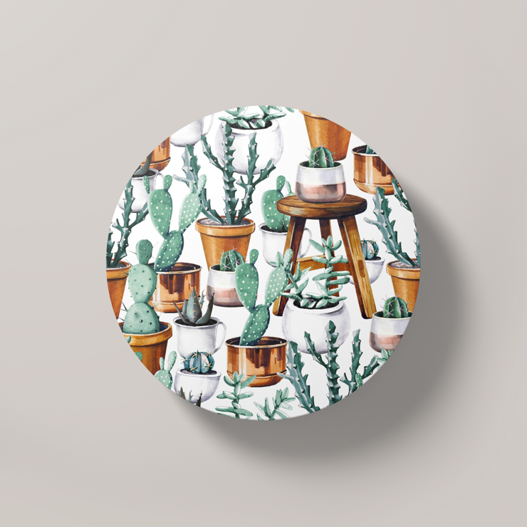 Cacti Party Pattern 14 | Round Coaster by But Why Not