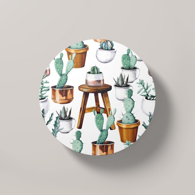 Cacti Party Pattern 15 | Round Coaster by But Why Not