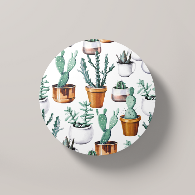 Cacti Party Pattern 16 | Round Coaster by But Why Not