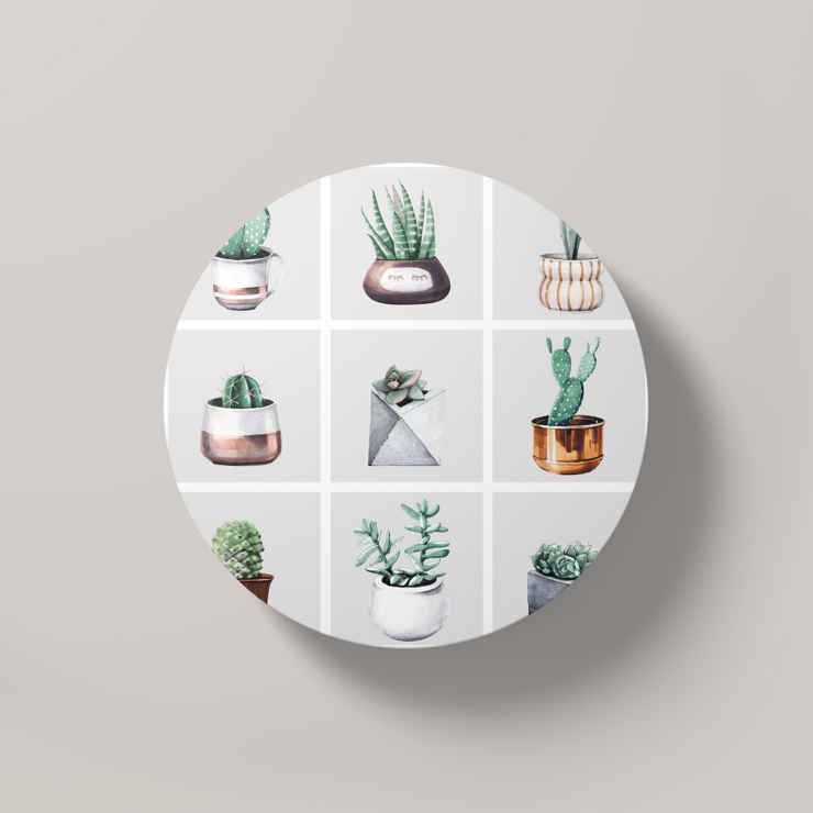 Cacti Party Pattern 2 | Round Coaster by But Why Not