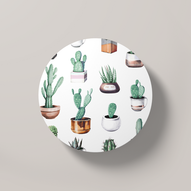 Cacti Party Pattern 4 | Round Coaster by But Why Not