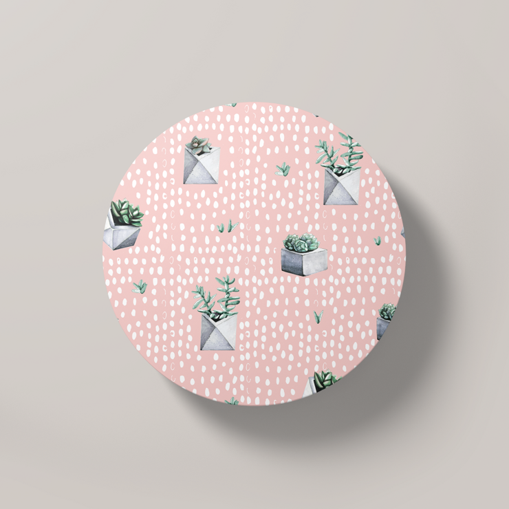 Cacti Party Pattern 5 | Round Coaster by But Why Not