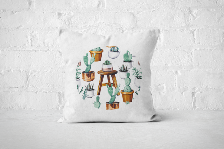 Cacti Party Pattern 15 | Pillow Cover by But Why Not