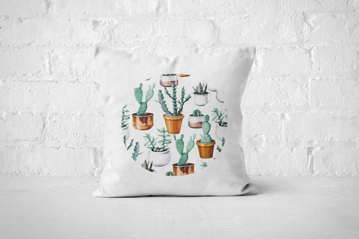 Cacti Party Pattern 16 | Pillow Cover by But Why Not