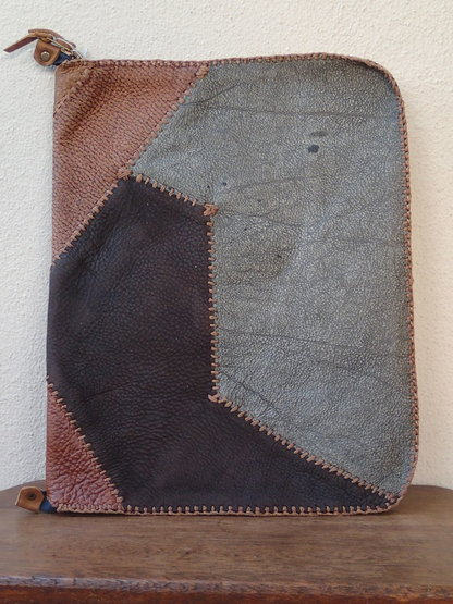 Hand stitched leather patchwork laptop case  by Shackletons