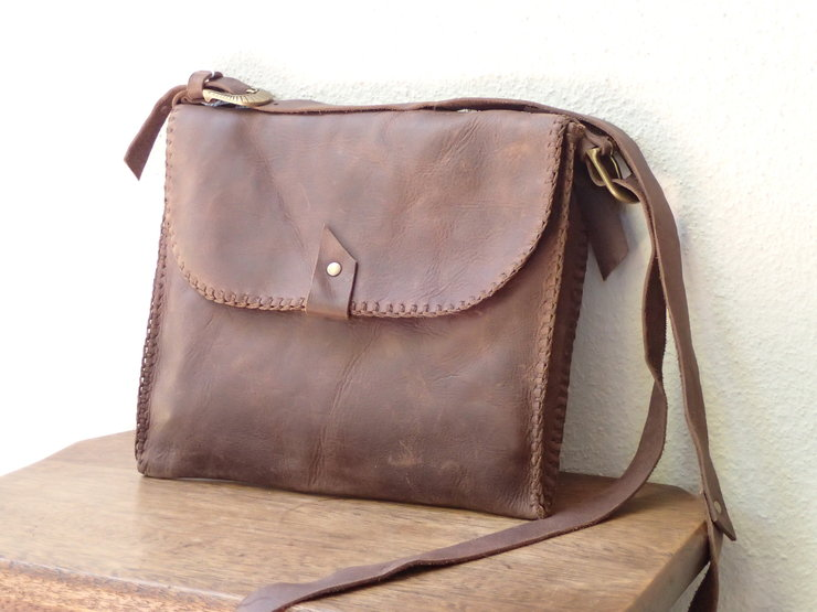 Hand stitched bovine leather handbag ( To order only) by Shackletons