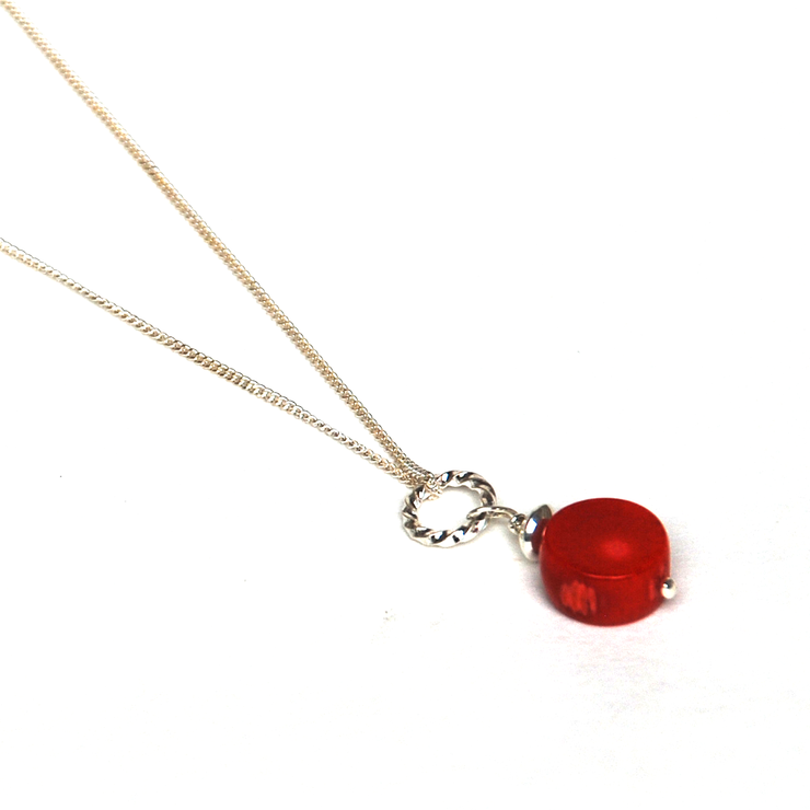 Add a Dangle handmade natural red Coral coin gemstone pendant on 925 sterling silver by ATENEA