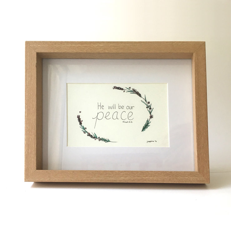 He will be our peace (Framed print) by Josephine Draws