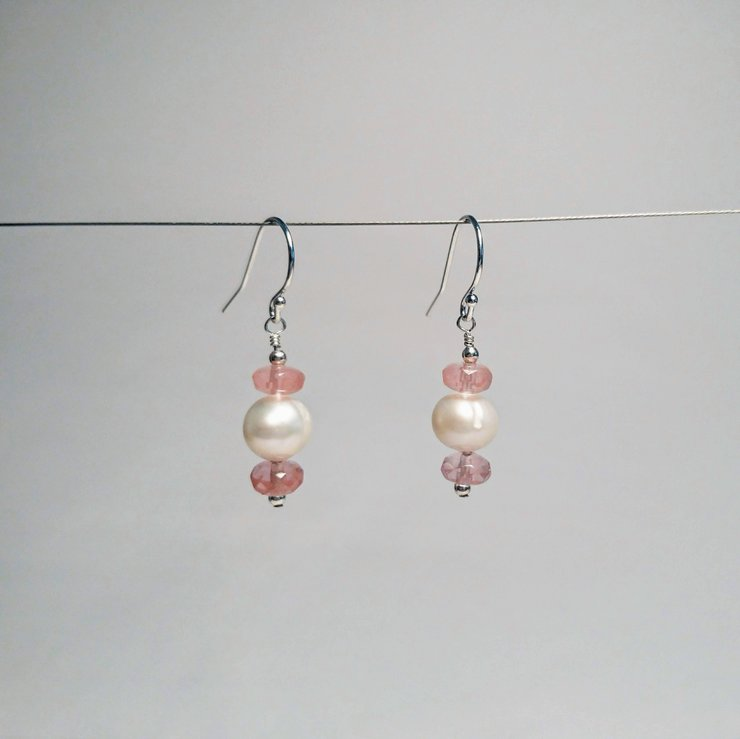 Pearl & cherry quartz on sterling silver earrings by Ochre