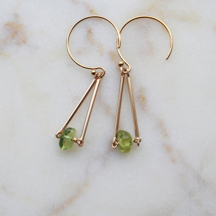 Green Peridot Drop Earrings 14k Gold Filled Hypoallergenic By Minkykitten