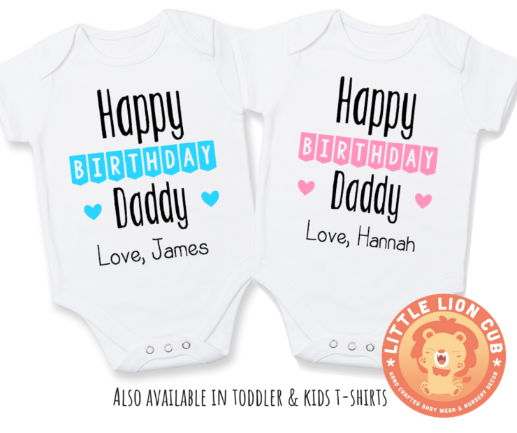 Girls New Personalised Long Sleeve Cotton Baby Vests for Boys I Love My Daddy