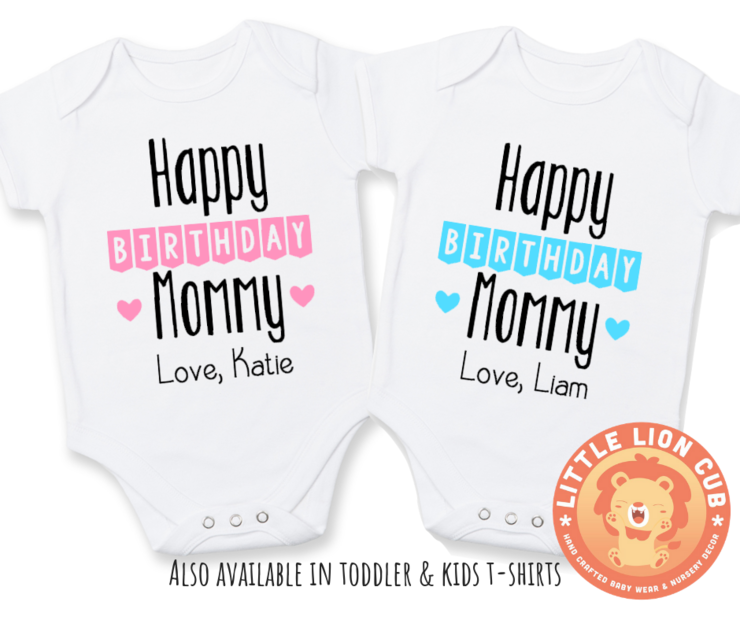 Personalised HAPPY BIRTHDAY MOMMY Baby Grow Or Kids T Shirt Gift For Mommy