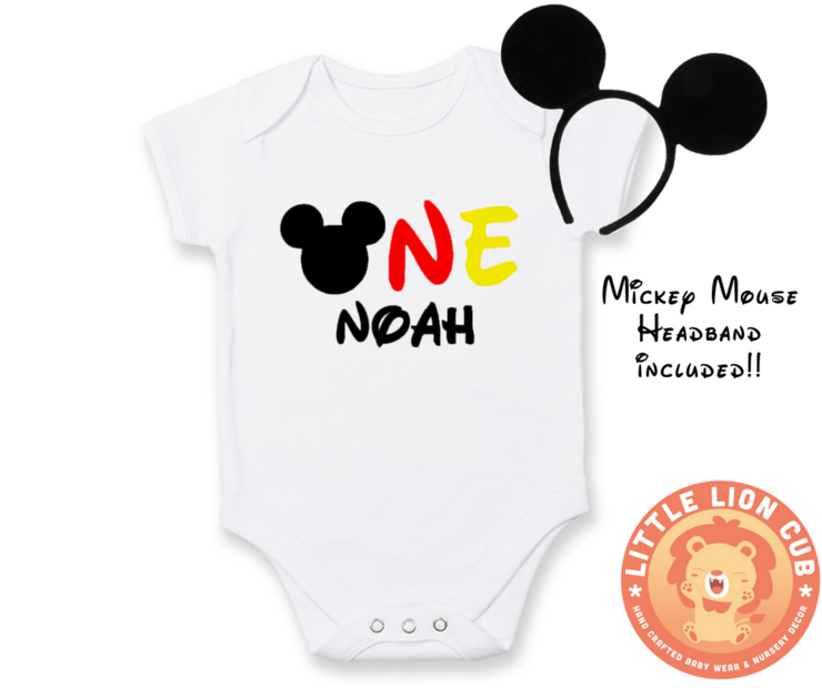 PERSONALISED Mickey Mouse FIRST Birthday outfit / 1st Birthday / Mickey Mouse baby grow / Baby Birthday outfit / Mickey Mouse / Headband included! by Little Lion Cub Boutique