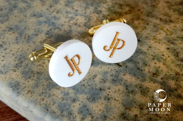 Gold and White Personalised Cufflinks by Papermoon