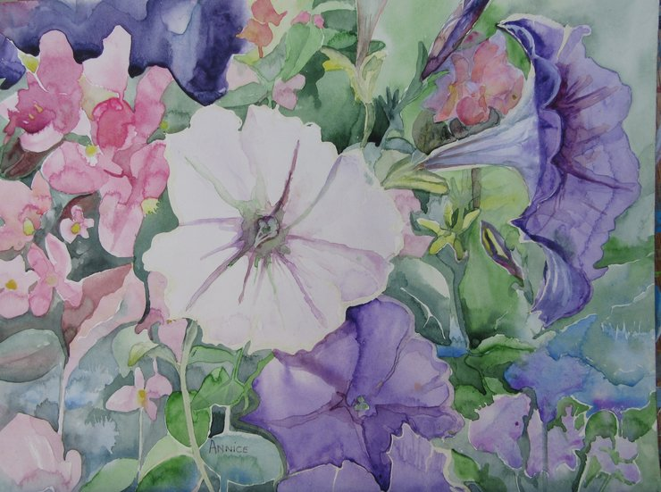 Watercolour Petunias by Two Generations Creations