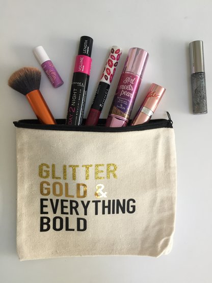 Glitter & Gold Make Up Bag  by Love & Sparkles
