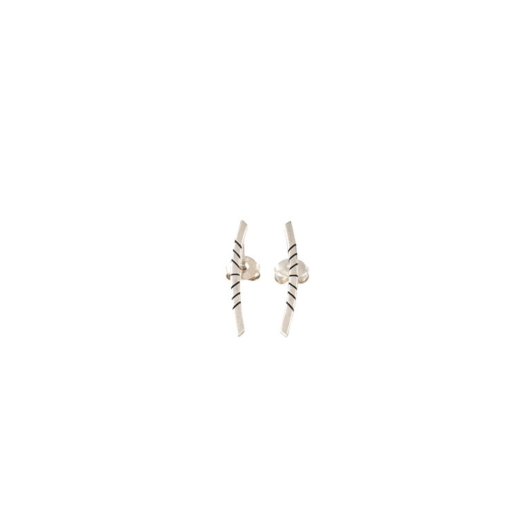 Silver stripe curved studs by Muchi Galoosh Jewellery