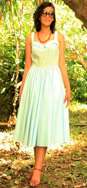 50s Pastel Blue Over Bust Collar Sun Dress  by Candice Ford