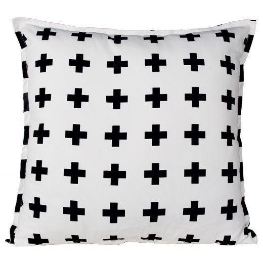 SWISS CROSS WHITE BLACK SCATTER CUSHION by Baby Couture