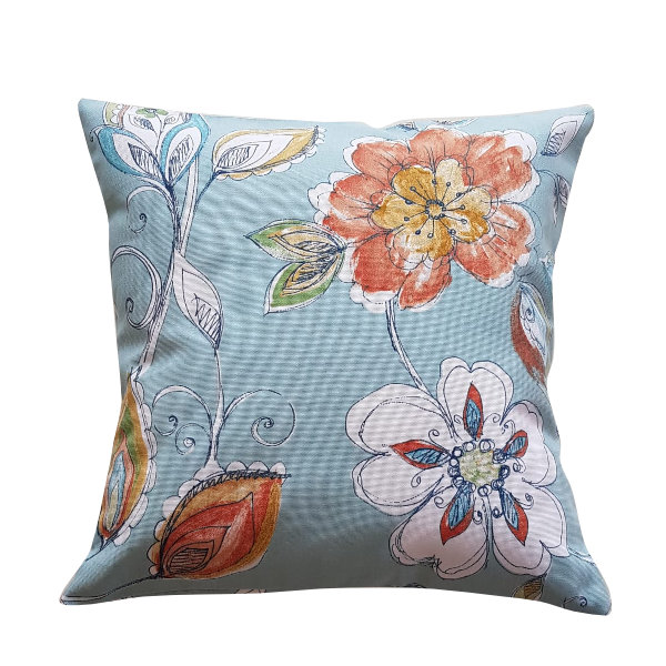 Flower Pillow/Cushion Pillowcase - Aqua 45cm by Going Dutch In Sa