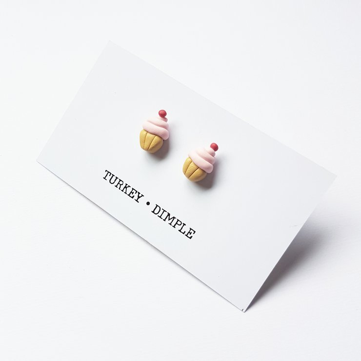 Strawberry Cupcake Studs by turkey dimple